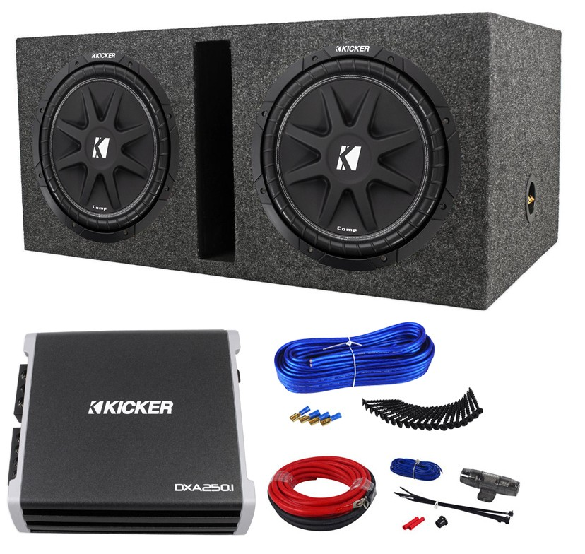 2 Kicker Comp 12  C12-4 Car Subwoofers+Sub Box+DXA250.1 Amplifier+09DPK8 Amp Kit | Audio Savings  sc 1 st  Audio Savings & 2 Kicker Comp 12