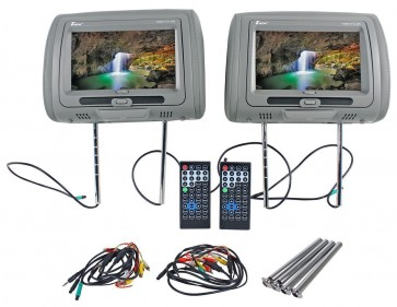 """Tview T99DVTS-GR 9"""" Gray Touch Screen Dual DVD Car Headrest Monitors"""