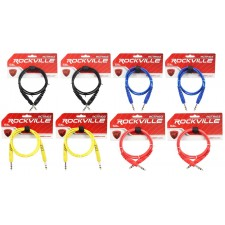8 Rockville 3' 1/4'' TRS to 1/4'' TRS Cable 100% Copper (4 Colors x 2 of Each)