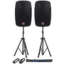 "2) Rockville SPG128 12"" Passive 1600W PA Speakers 8 Ohm 2) Stands+2) Cables+Case"